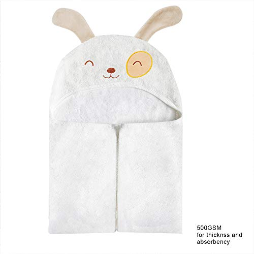 (Organic Bamboo Baby Hooded Towel for Kids, Large Clever Dog Baby Towels, Soft Hooded Bath Towels with Ears & Hypoallergenic Toddler Towels for Boy or Girl 30