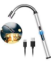 ولاعة شمعة كهربائية بمنفذ USB قابلة لإعادة الشحن مع بطارية بشاشة عرض، ولاعة كهربائية تعمل باللمس ومقاومة للرياح لإضاءة الشموع والالعاب النارية والفرن ولأغراض التخييم (اسود)