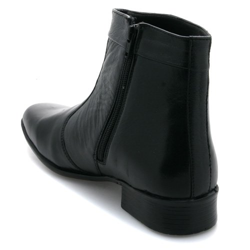 Mens Zip Up Pleated Ankle Black Leather Boots: Amazon.co.uk: Shoes ...