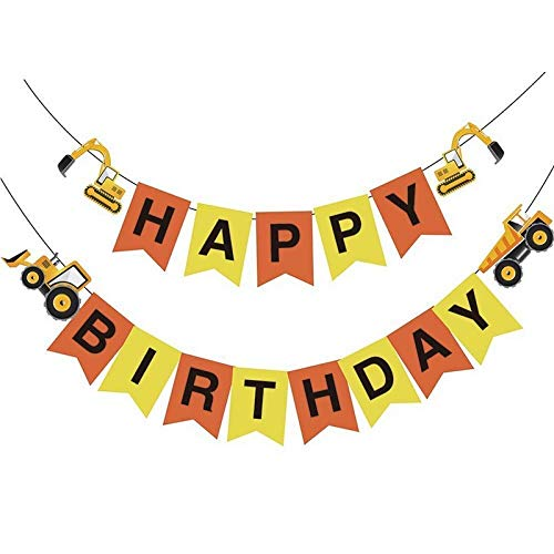 Construction Vehicle Happy Birthday Banner Party Supplies, Baby