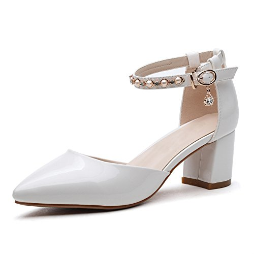 Womens Closed Toe Low Mid Block Heel Shoes Sandals Ankle Strap Beaded Buckle Sandals For Dress Evening Wedding Party White mDDI7