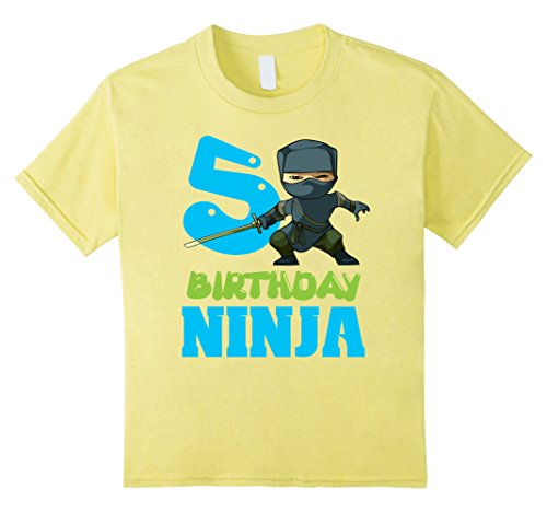 Birthday Yellow T-shirt (Kids 5 Year Old Birthday Ninja Boy Funny 5th B-day Gift T-Shirt 6 Lemon)