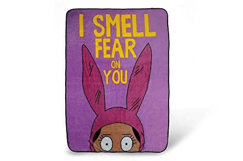 Surreal Entertainment Bob's Burgers Louise Throw Blanket   I Smell Fear On You Quote   Collector's Large Pink Blanket   64 x 44 Inches