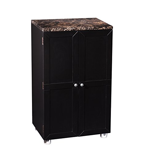 Southern Enterprises Cape Town Contemporary Bar Cabinet in Black Finish