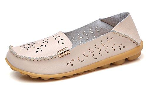 VenusCelia Women's Breathable Natural Walking Flat Loafer(9.5 M US,Beige) (Best Work Flats For Walking)