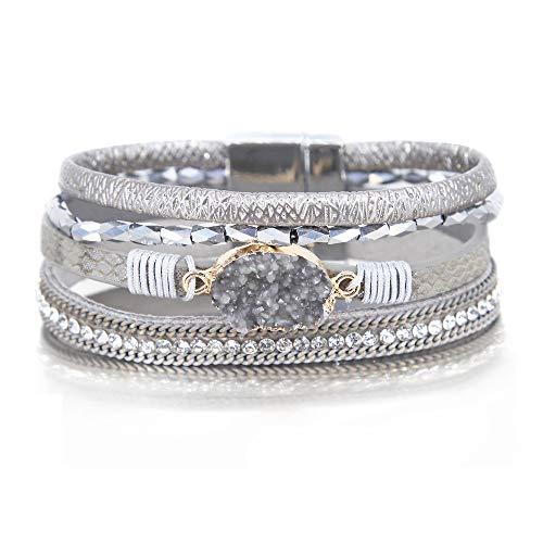 Silver Wrap Bracelet Boho Jewelry Cuff Bracelet Crystal Bead Bracelet Rhinestone Handmade Bangle Braided Magnetic Clasp Bracelet Multi Strand Bracelet for Women Girl Men ()