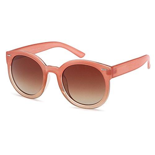 CATWALK Womens Oversized Cat Eye Sunglasses - Gradient Brown Lens on Peach Frame -