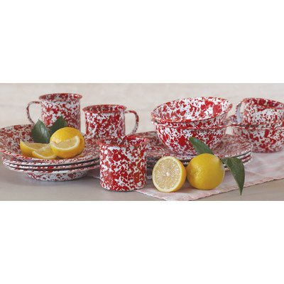 Crow Canyon Home Enamelware Starter Set, 16 pc, Red & White Marble