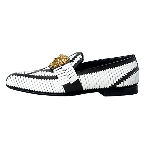Versace-Mens-Two-Tone-Leather-Logo-Decorated-Loafers-Slip-On-Shoes-US-8-IT-41