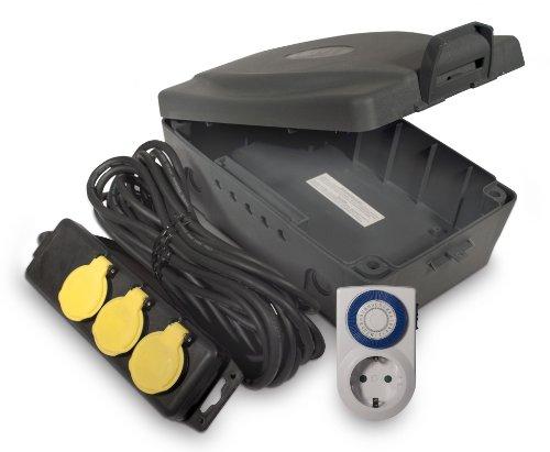 Masterplug WBXIP38TS Weerbestendige box voor buiten met 8 meter verlengkabel en 3 stopcontacten incl. timer,zwart