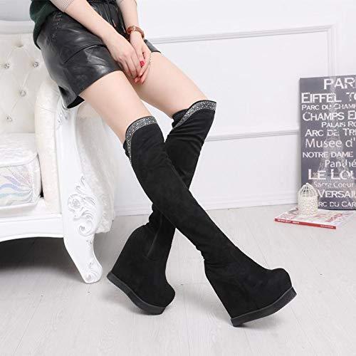 knee 15 Thirty boots black heels centimeters boots winter boots Autumn High high six xU8qYO