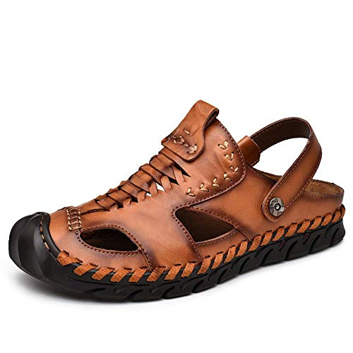 marron 7.5 UK BAIJJ Hommes été Sandales, Sandales en Plein air pour Hommes en Cuir Microfibre Orteils fermés Chaussures à Coudre à la Main Cheville Bretelles Pantoufles (Couleur  Bcourir, Taille  7.5 UK)