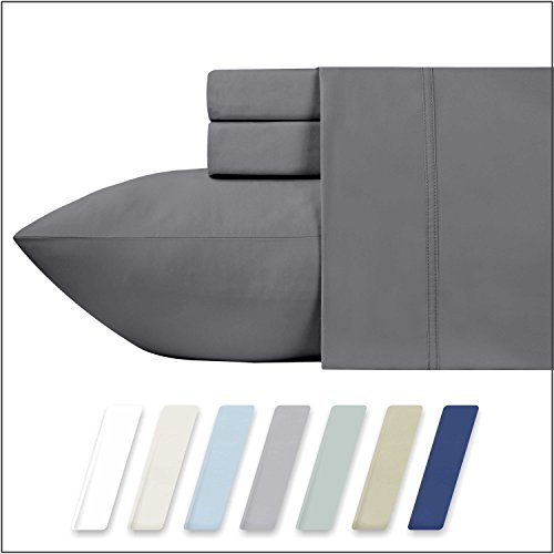 California Design Den 600 Thread Count 100% Cotton Sheets – Dark Grey Long-staple Cotton King Sheets, Fits Mattress Upto 18'' Deep Pocket, Sateen Weave, Soft Cotton 4 Piece Bed Sheets (100 Piece Satin)
