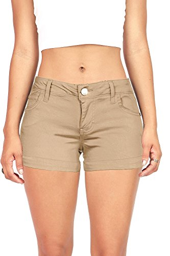 Pink Ice Women's Juniors Casual Cuffed Design Shorts (7, Khaki) by Celebrity Pink