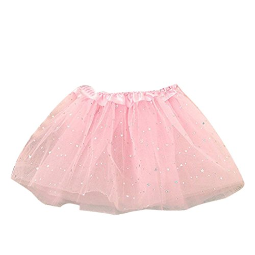 [VESNIBA Baby Kids Girls Princess Stars Sequins Party Dance Ballet Tutu Skirts (Free size, Pink)] (Dancing With The Stars Costumes Designs)