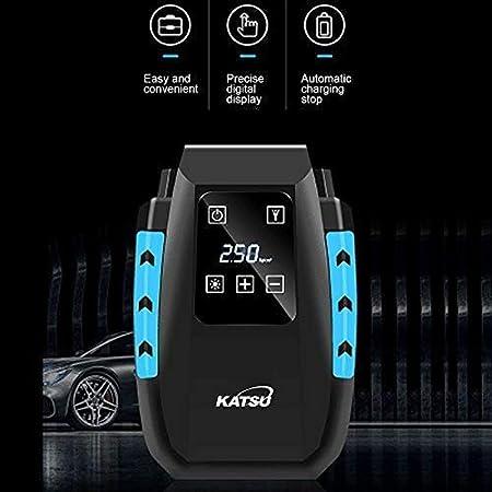 con Spegnimento Automatico Luce a LED Valigetta KATSU Compressore Aria Portatile Digitale Mini Pompa Elettrica per Gonfiare Pneumatici delle Auto Palle 3 Ugelli di Gonfiaggio Moto