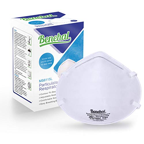 Benehal N95 Disposable Dust Masks NIOSH-Certified Particulate Respirator for Cleaning, Construction, Woodworking, Emergency Kits Mowing and More (MS6115L, 20-Pack) (MS6115L) ()