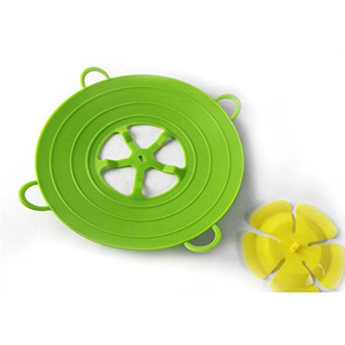 Altruism Cookware Lids 13 Inch Useful Multi-function Silicone Spill Stopper Lid Kitchen Utensils Pan Cooking Tools Flower Cookware Parts 29cm (green)