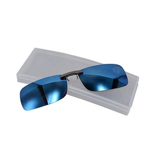 Clip de metal con polarizadas sol de UV marco azul reflectante lente gafas funda sobre para rOwUrACqxR