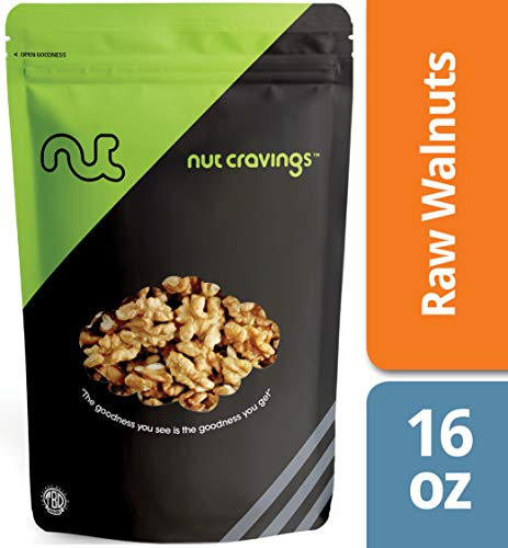 Chopped Nuts (Nut Cravings California Raw Walnuts – 100% All Natural Shelled Halves and Pieces – 16 Ounce)