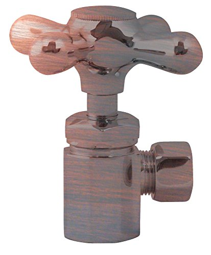 Antique Copper Angle Supply (Westbrass Shut Off Valve Cross Handle Angle Stop 1/2-Inch Ips Inlet with 3/8-Inch Compression Outlet D103X-11, Antique Copper)