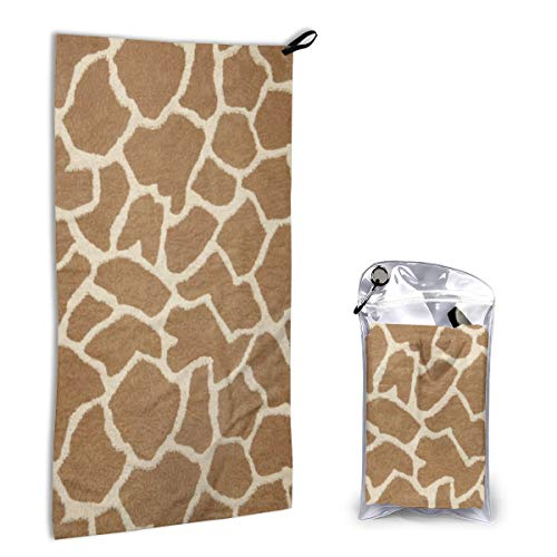 - Microfiber Towel Fast Drying Super Absorbent Beige Tan and White Giraffe for Sports, Travel, Beach, Camping