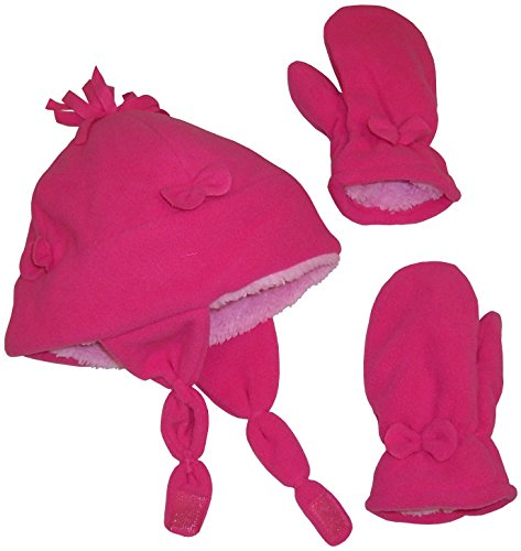 N'Ice Caps Little Girls and Baby Soft Sherpa Lined Micro Fleece Pilot Hat and Mitten Set (Fuchsia Bow, 2-3 Years)