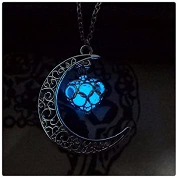 led jewellery glow in the dark silver finish BLUE Glowing Ornate Egg Locket Necklace Blue Fairy