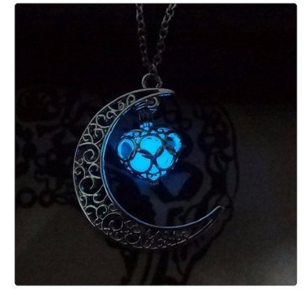 Blue Moon Silver Charm (Glow in the Dark Silver Crescent Moon and Orb Necklace - Glowing Blue Moon Charm - Magical Fantasy Fairy Glowing Necklace - Glow Jewelry)