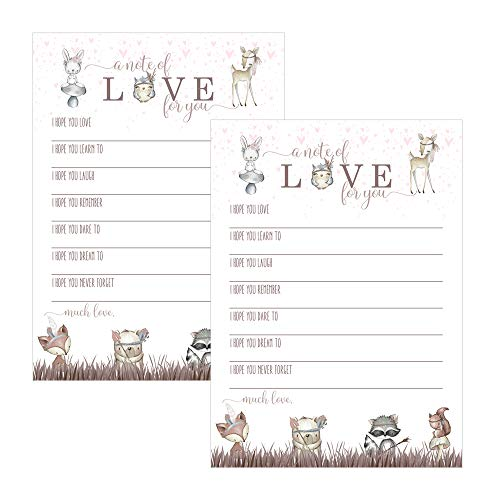 Paper Clever Party Woodland Friends Wishes and Advice for Baby Shower - Pack of 25