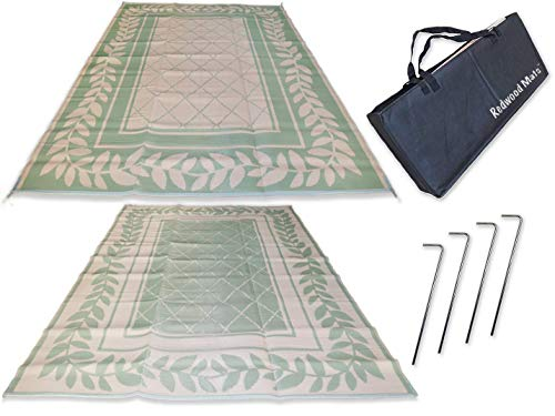 Redwood Mats Patio Mat 9' X 12' Leaf Green Rv Mat Reversible Outdoor Rug Camping Indoor (with Ground Stakes & Carry Bag)