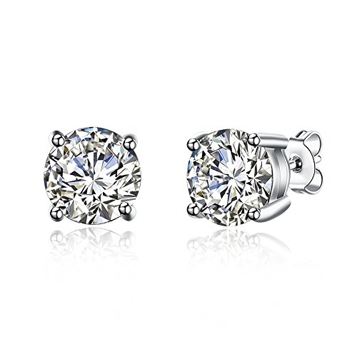 Sterling Silver Studs Earrings, 4-6 Pairs, Round Clear Cubic Zirconia Stud Earrings for Sensitive Ears priercing (1 Pairs New 7mm) -
