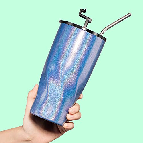 Luxear Glitter Tumbler With Straw 20oz Stainless Steel Tumbler Cup Insulated Coffee Beer Tea Water Mug For Outdoor Home Beach Car Travel Leakproof Lid Sliding Lid Style Blue
