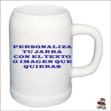 JARRA CERVEZA PERSONALIZADA CON FOTO LOGOTIPO DISEÑO REGALO TAZAS FOTO: Amazon.es: Hogar
