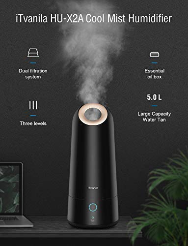 iTvanila Humidifiers for Large Bedroom, Upgrade Model 5L Cool Mist Ultrasonic Air Humidifier Whisper-Quiet Operation for Baby Bedroom, Last up to 50H X2A