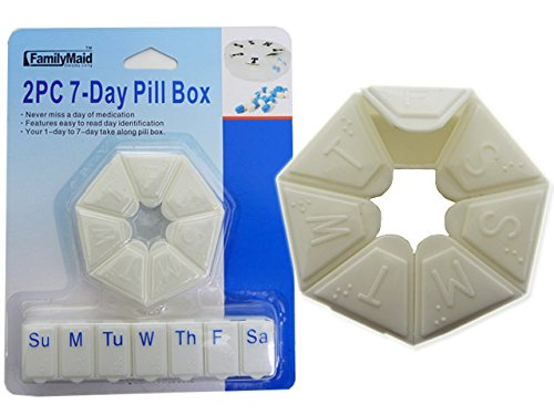 PILL BOX 7 DAY 2PC , Case of 96 by DollarItemDirect