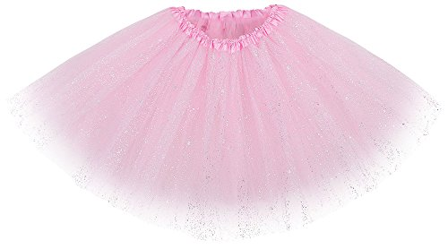 [Women's Classic Triple Layered Tulle Tutu Skirt w/ Sparkling Sequin,Light Pink] (Pink Tulle Layered Tutu)