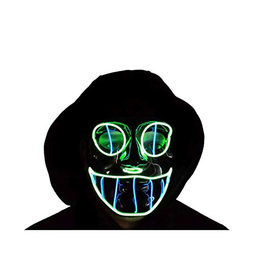 The Original LED Light Up El Wire Cheshire Cat Halloween Rave Festival Mask (Blue/Green)]()