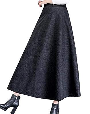 Joe Wenko Women Vogue High Waist Wool Blend Fall/Winter Big Pendulum A-line Long Skirt