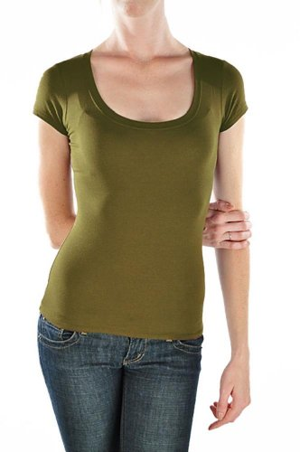 745097818e7a Active Basic Womens Plain Basic Deep Scoop Neck T-Shirt with Cap Sleeves - Various  Colors New Olive L