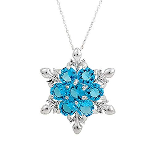 (Windoson Crystal Snowflake Pendant Necklace Plated with Rhinestones and Decorated with Swarovski Element Crystal for Women Gift (Blue))