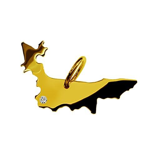 Endroit Exclusif Poméranie Carte Pendentif avec brillant à votre Désir (Position au choix.)-massif Or jaune de 585or, artisanat Allemande-585de bijoux