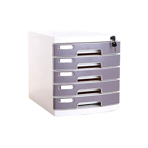 5-Layer Plastic Storage Drawers Desk, Storage Unit Organizer Lockable File Cabinet A4 Box for Office (Size : Medium 5-Layers) by Bxwjg