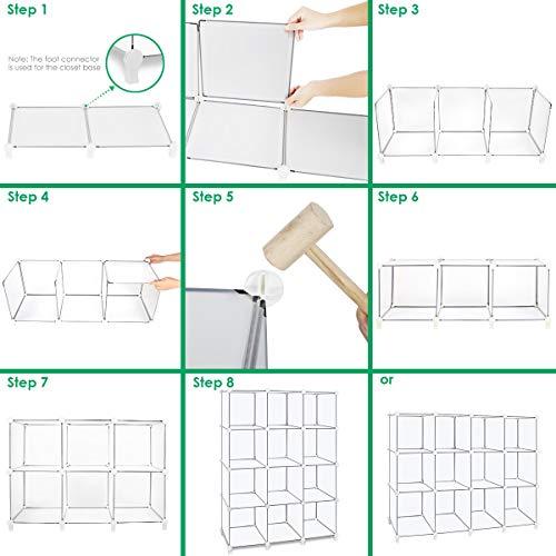 TomCare Cube Storage 12-Cube Book Shelf Storage Shelves Closet Organizer Shelf Cubes Organizer Plastic Bookshelf Bookcase DIY Square Closet Cabinet Shelves for Bedroom Office Living Room, White by TomCare (Image #2)