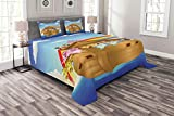 Lunarable Cartoon Bedspread Set King Size, Cute Animals in The Ark Sailing in Sea Ship Old Story with Setting Sun Rainbows, Decorative Quilted 3 Piece Coverlet Set with 2 Pillow Shams, Multicolor