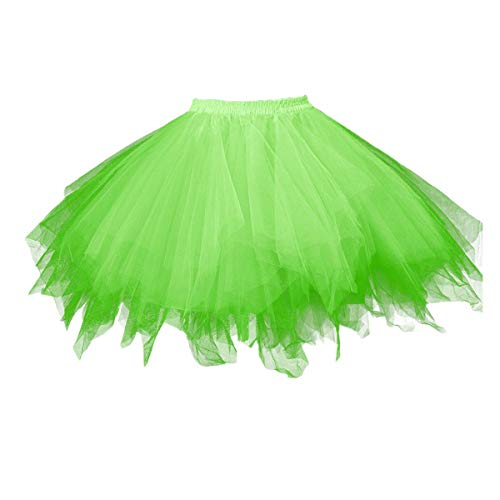 Adult Women 80's Tutu Skirt Layered Tulle Petticoat Halloween Tutu Green -