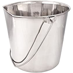 "ProSelect Stainless Steel Flat Sided Pails — Durable Pails for Fences, Cages, Crates, or Kennels - 6"", 2-Quart"