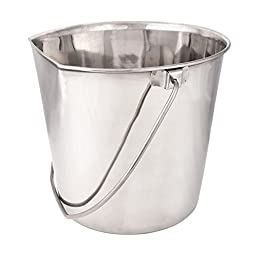 ProSelect Stainless Steel Flat Sided Pails — Durable Pails for Fences, Cages, Crates, or Kennels - 8\