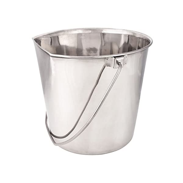 ProSelect Stainless Steel Flat Sided Pails – Durable Pails for Fences, Cages, Crates, or Kennels – 6″, 2-Quart