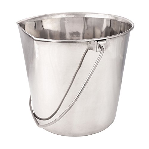 - ProSelect Stainless Steel Flat Sided Pails - Durable Pails for Fences, Cages, Crates, or Kennels - 6